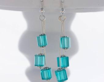 Silver drop earrings; Cube earrings; Glass bead earrings; Turquoise earrings; Glass cubes