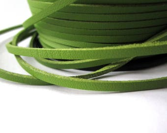 5 m suede effect - green - 3 mm leather cord