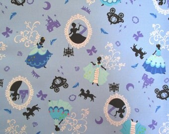 Japanese fabric 50 x 55 cm - fairy tales - Cinderella - blue