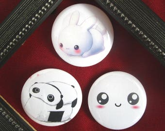 Set of 3 badges 44 mm - kawaii theme