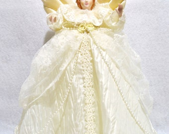 """Vintage 14"""" Victorian angel tree topper porcealin head V ivory satin lace gown"""