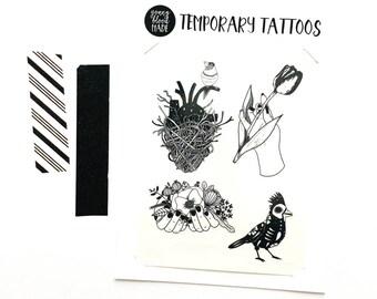 Original Illustration Temporary Tattoo Designs, Botanical Tattoo, Bird Tattoo, Tulip, Anatomical Heart, Cardinal, Nest