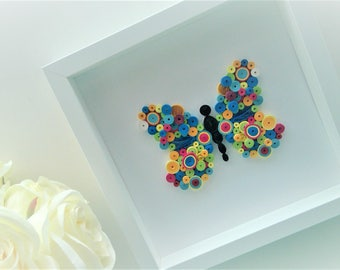 Framed Art / Paper Butterfly / Quilled Art /Quilled Butterfly