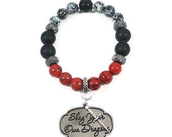 Slay Your Own Dragons~ Handmade Stretch Charm Bracelet~ Genuine Red Howlite/Black Onyx~ Sterling Silver Rhinestone Dagger & Hardware