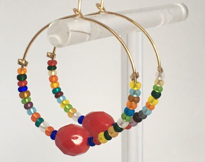 Gold earrings and coral bead, Gold filled hoop earrings and multicolours glass beads