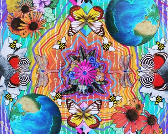 Colorful Nature Themed Collage Art Print - Psychedelic Trippy Print - Great Gift for Hippys - Nature Earth Inspired Collage Print