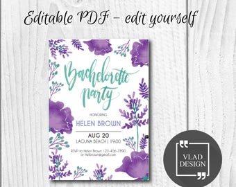 Editable Bachelorette Party Invitation, Editable PDF, Bachelorette invite, Printable invitation, Bachelorette party template, Edit yourself