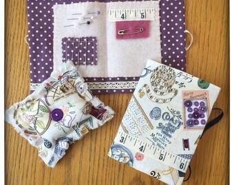 Handmade Needle Case, Handmade Pin Cushion, Handmade Fabric Covered Notebook, Sewing Gift Set, Sewers Gift Set.