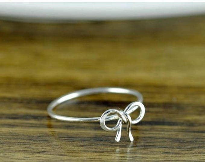 10% off SALE Sterling Silver Tiny Bow Ring, Stacking Ring, Statement Rings, Wire Wrapped Ring, Bow Ring, Forget Me Knot, Bow Tie Jewelry