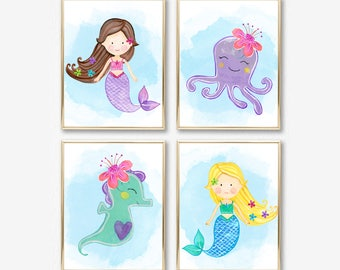 Mermaid Nursery Decor. Mermaid Nursery Prints. Mermaid Nursery Art. Mermaid Art. Mermaid Prints. Mermaid Bathroom Decor, Nursery Printables