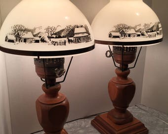 Vintage Currier & Ives_Hurricane_Lamps