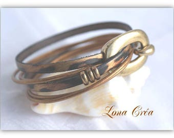 Leather Bracelet double turn Leopard and Bronze - loops and Bronze clasp - leather cuff bracelet