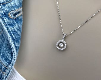 Pretty Circle Dancing Diamond Necklace, Cubic Zirconia, Sterling Silver, Engagement, Wedding, Anniversary, Gift for Her, Best Sellers