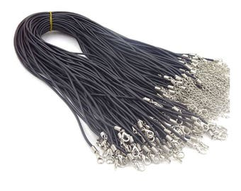 100pieces 2.0mm black colors round rubber necklace cords---for length 18-30inch
