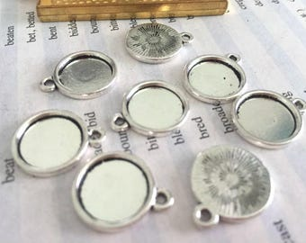 Wholesale 100 Pieces /Lot Antique Silver Plated 12mm(one side) cabochon trays charms