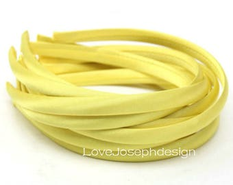 10pieces yellow satin plastic hair headband covered 10mm wide