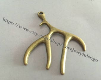 10 Pieces /Lot Antique Bronze Plated 46mmx48mm deer antlers Charms(#076)