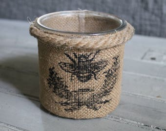 Burlap & Glass Bee Container