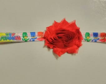 PJ Mask inspired headband, Character headband, baby headband, super hero shabby flower headband, birthday headband, infant headband