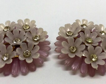 Beautiful 1960s floral clip on earrings