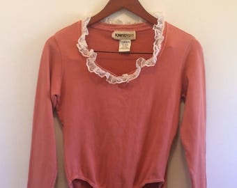 SALE Vintage Coral Bodysuit w/ Lace Trim