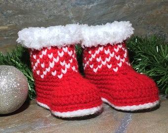 Christmas Baby Booties Crochet Pattern/ Baby Booties/ Baby Shoes/ Baby Booties Crocheted/ Baby Boots/ Crochet Baby Booties/ Pattern