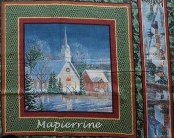 Patchwork/decoration 1 tile 4 Christmas landscape fabric