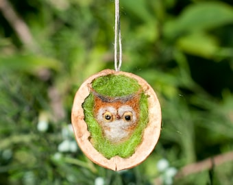 Needle Felted Owl in nutshell miniature animals needle felting Bird ornament owl felt miniature baby owlet gift Felt wool owl eco toy