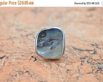HUGE Sale Chunky Bezel Set Abalone Ring Size 5.25 Sterling Silver 10.9g Vintage Estate
