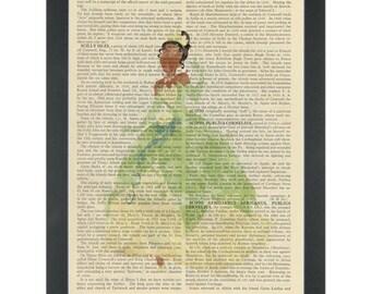 Princess Tianna watercolor girls bedroom Dictionary Art Print