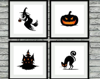 Horror Prints, Set Of 4 Prints, Printable Halloween Decor, Set Of Prints,
