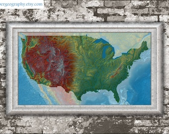 View Elevation Maps By GrasshopperGeography On Etsy - Map of us elevation