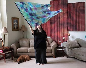 Prophetic - Silk Flag - Worship Flag - Praise Dance - Dyed Silk - XL Long Fishtail Bendie Flag (8mm) called Garden of Your Heart