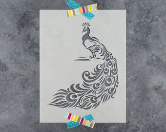 Peacock Stencil - Reusable DIY Craft Stencils of a Peacock
