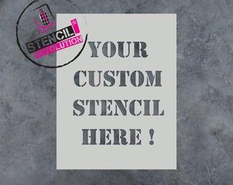 Custom Stencils with Text of Your Choice - Multiple Fonts Available
