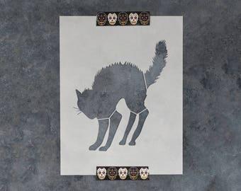 Black Cat Halloween Stencil - Reusable DIY Craft Stencils of a Halloween Cat