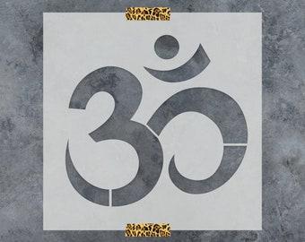 Om Symbol Stencil - Reusable DIY Craft Stencils of an Ohm Symbol - Spiritual Stencil Design Great for Yoga