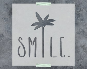 Smile Palm Tree Saying Stencil - Reusable DIY Craft Sign Stencils Smile and a Palm Tree