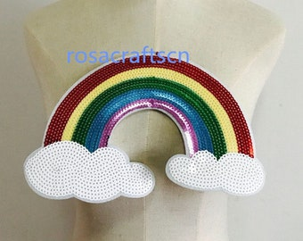 Embroidered patches for clothing cute big rainbow badge applique sequins patch diy accessories Label patchwork 234