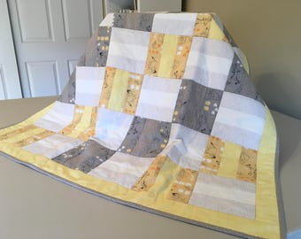 Gray and Yellow Winnie The Pooh Quilt