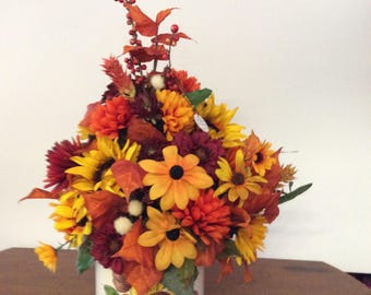 Fall floral arrangement in hand painted vintage Brazilian container