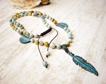 Long Boho necklace Bohemian necklace Amazonite Necklace Rozary necklace Hippie necklace Feather Necklace Long amazonite Necklace Statement