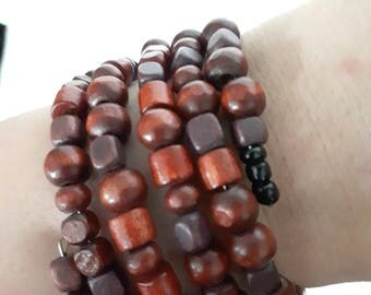 Brown and Brown Bohemian style wood beaded bracelet