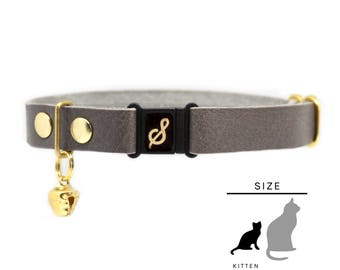 "Kitten Collar, Leather with Safety Breakaway Buckle - ""Pebble"" // PRIMARY collection"