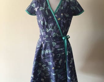 Peter Pan Neverland Print Wrap Dress