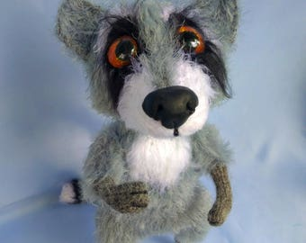 Raccoon Stuffed animals Forest animal Toy woodland Knitting pattern Fiber Arts Wool raccoon Dolls Collectible toys Plushie raccoon