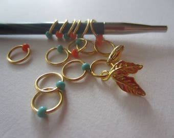 Bohemian Ring Stitch Marker Gold / Snagless Metal Ring / Knitting