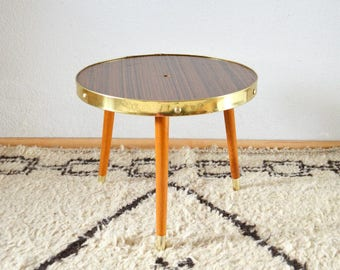 Mid century flower stool brass table vintage side table brass Teak wood Plant stand