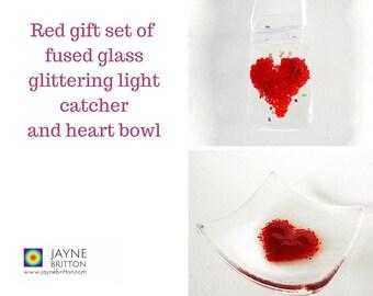 Red heart fused glass gift set - glittering light catcher, fused glass suncatcher, window art sun catcher, red present, red decor, present