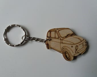 Fiat 500 Classic Keyring  Etched detail wooden